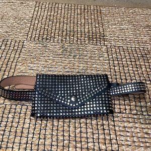 Black silver stud fanny pack waist belt brand new